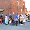 Lynn. St. Mary's Chapel. Food Pantry Closing. The last Day.   A long line of people show up on the last day.