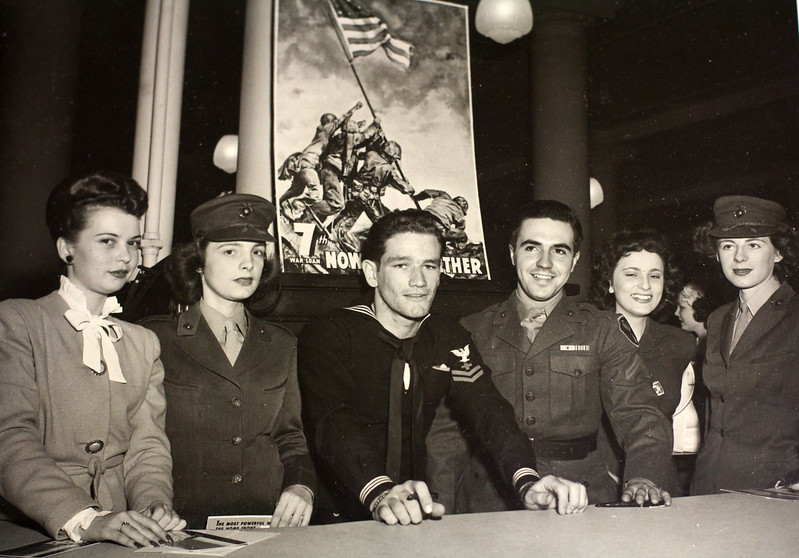A famous photo of World War ll. Two of the men in this picture were in the flag raising photo behind them. Here they are on a war bond tour. Photo by Owen O'Rourke