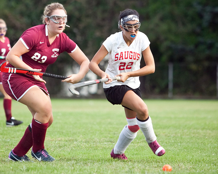 Gloucester's Chloe Flavin (23) and Saugus High School's Sophia Cogliano (22) vie for the ball during their game at Stackpole Field on Monday, September 8. Item Photo / Angela Owens.