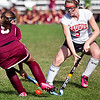 Gloucester's Liana Hendershott (5) and Saugus High School's Madison Caron (5) vie for the ball during their game at Stackpole Field on Monday, September 8. Item Photo / Angela Owens.