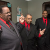 """Members of the band """"Purpose"""", a vocal group, rehearse in Lynn to prepare for an upcoming concert.  lft to rt: Anthony Butler, Boston, Michael Ward, Lynn and Mack Raye, Lynn."""