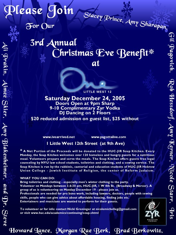 3rd Annual Christmas Eve Benefit Party at ONE
