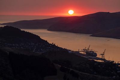 Sunrise over Porthills, Banks Peninsula.  Image by Bradley White
