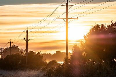 Power lines and fog near Bluff Highway, Awarua Plains.