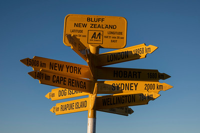 Stirling Point signpost in Bluff.