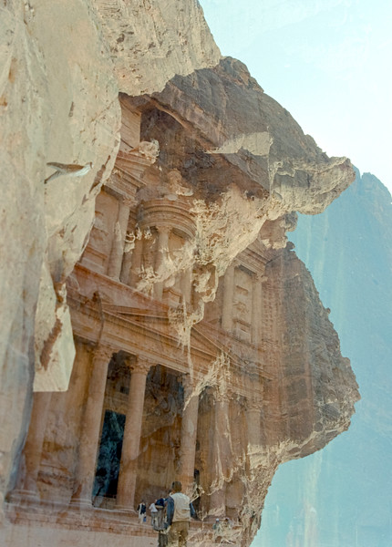 Double exposed negative taken at Petra, Jordan