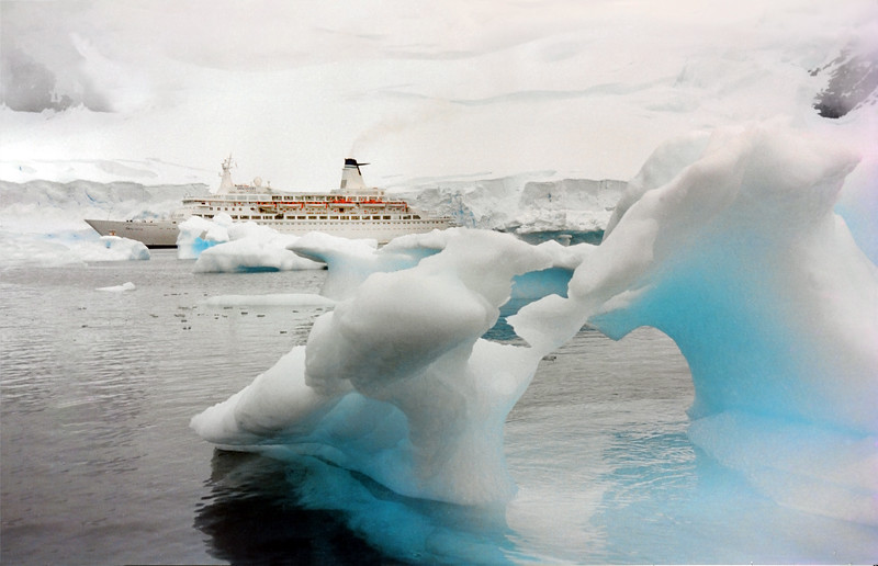 MV Discovery at Paradise Bay, Antarctica