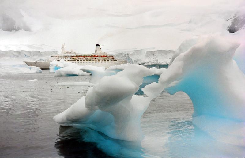 MV Discovery at Paradise Bay, Antarctica
