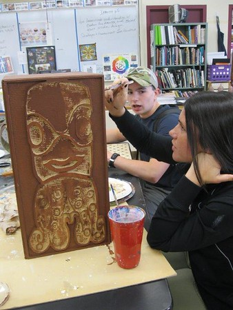 AP Art and Woodworking class: Totem Pole Collaborative Project