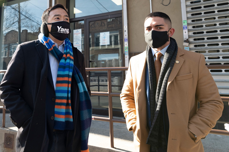 THE BRONX, N.Y. - January 28, 2021: for NEWS.  The Yang Gang registering a New Yorker to vote during a campaign stop at The Hub amid the COVID-19 pandemic. (Credit photo by: Taidgh Barron)