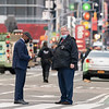 NEW YORK - May 8, 2021: for NEWS. NYPD Police Officers at the scene of a shooting in Times Square where three bystanders, including a 4 year-old girl, were shot. (Credit Photo by: Taidgh Barron)