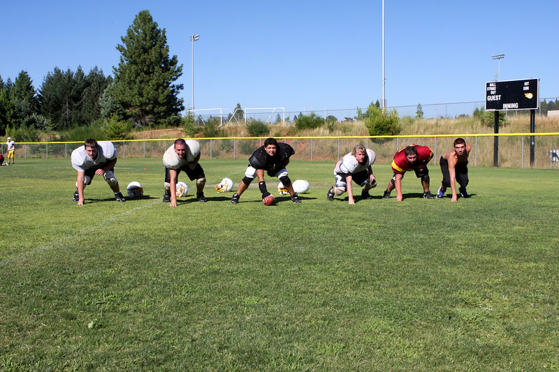 Offensive Line - Left to right, Dillon Potter, Alex Silva, Donny Farrell, Brandon Trimble, Danny Jones Austin Lewis