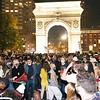 NEW YORK - November 7, 2020: for NEWS. Activists with Warriors in the Garden speak as New Yorkers and college students in Washington Square Park celebrate Democratic candidate Joe Biden being elected President of the United States after a long count in the 2020 Presidential Election. (Credit photo by: Taidgh Barron)