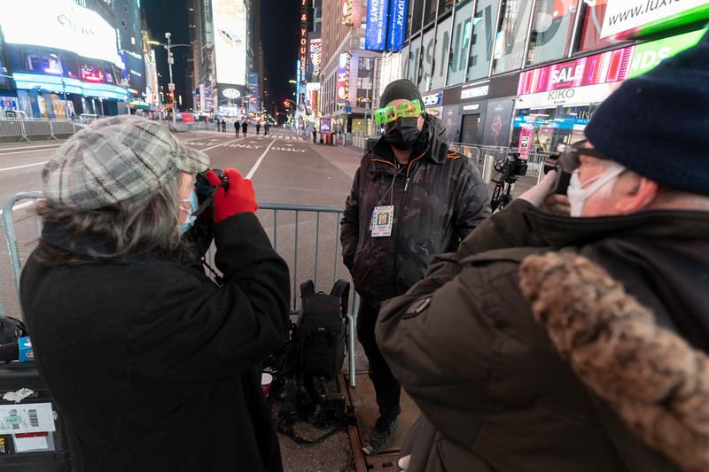 NEW YORK - January 1, 2021: for NEWS. Confetti falls over Times Square during the New Years ball drop in an empty Times Square amid the COVID-19 pandemic. (Credit photo by: Taidgh Barron)