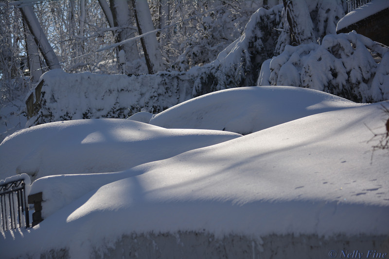 Two cars under snow, Poquotte, 2013.