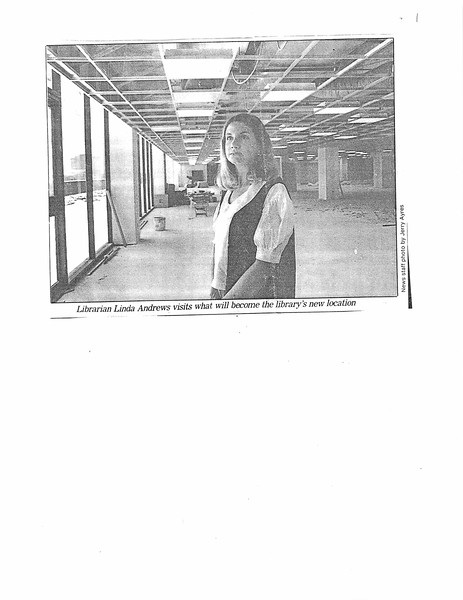 Librarian Linda Andrews visits what will become the library's new location