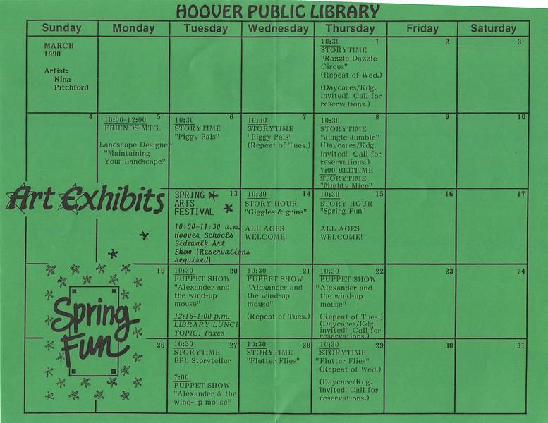 March 1990 Calendar