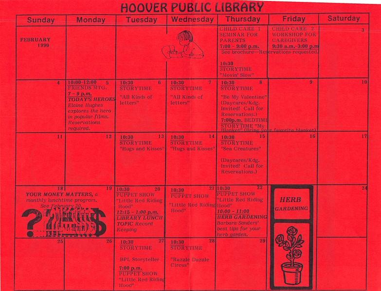 February 1990 Calendar