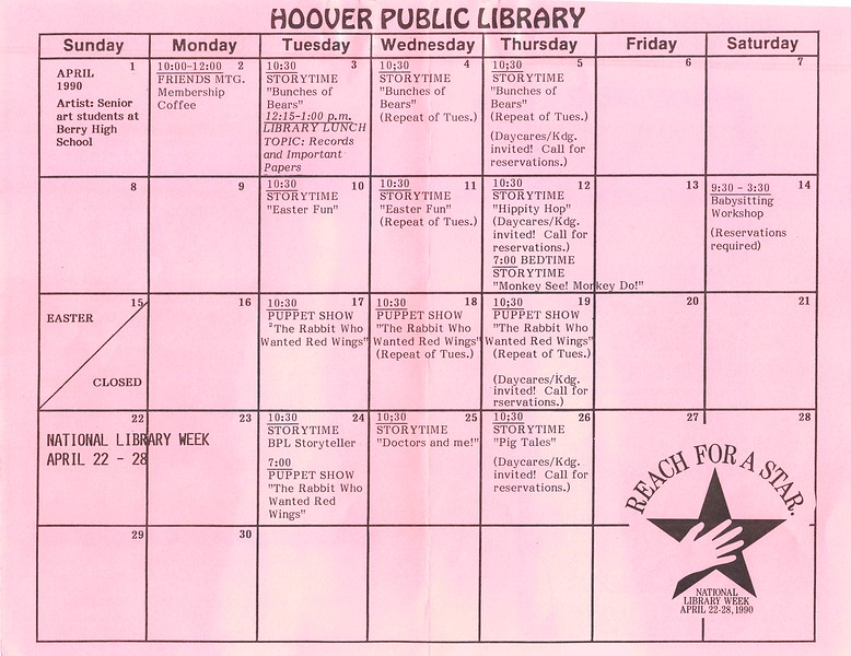 April 1990 Calendar