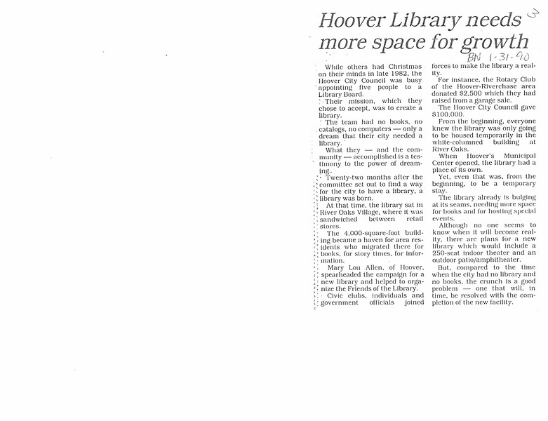Hoover Library needs more space for growth