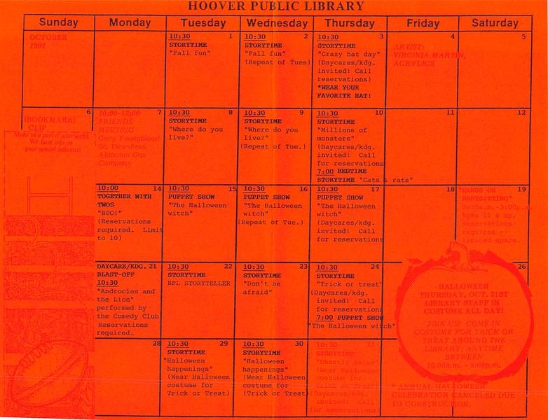 October Calendar 1991