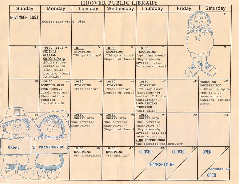 November Calendar 1991