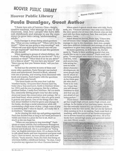 Paula Danzinger, Guest Author