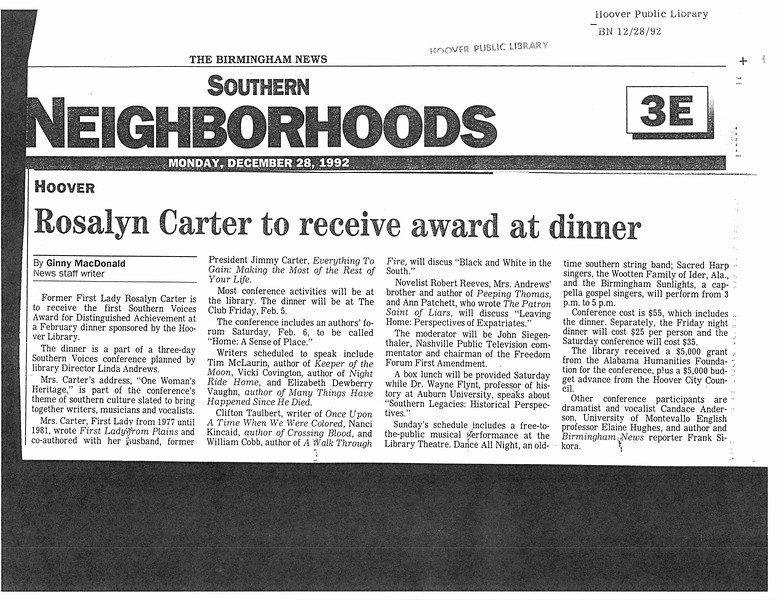 Rosalyn Carter to receive award at dinner