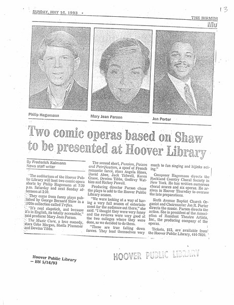Two comic operas based on Shaw to be presented at Hoover Library
