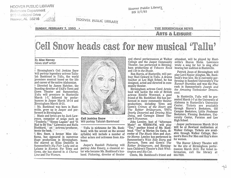"Ceil Snow heads cast for new musical 'Tallu"""