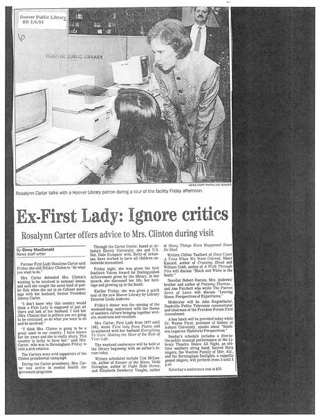 Ex-First Lady: Ignore critics
