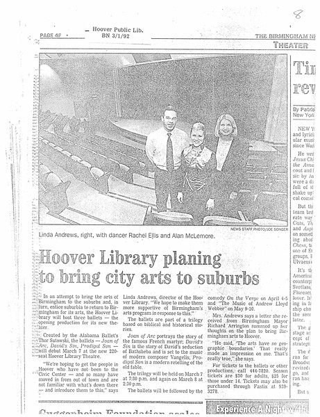 Hoover Library planing to bring city arts to suburbs