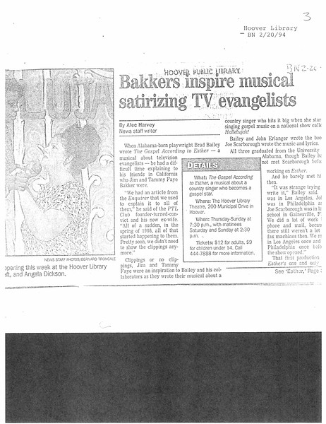 Bakkers inspire musical satirizing TV evangelists
