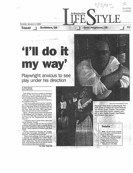 """I'll do it my way"""" Playwright anxious to see play under his direction"""