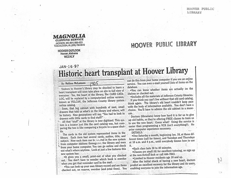 Historic heart transplant at Hoover Library