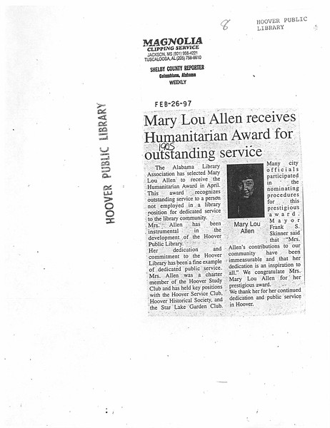 Mary Lou Allen receives Humanitarian Award for outstanding service