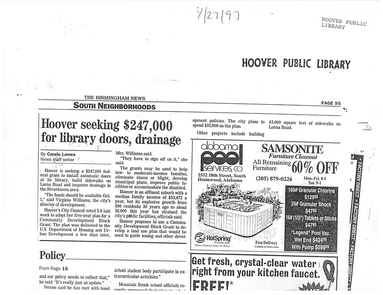 Hoover seeking $247, 000 for library doors, drainage