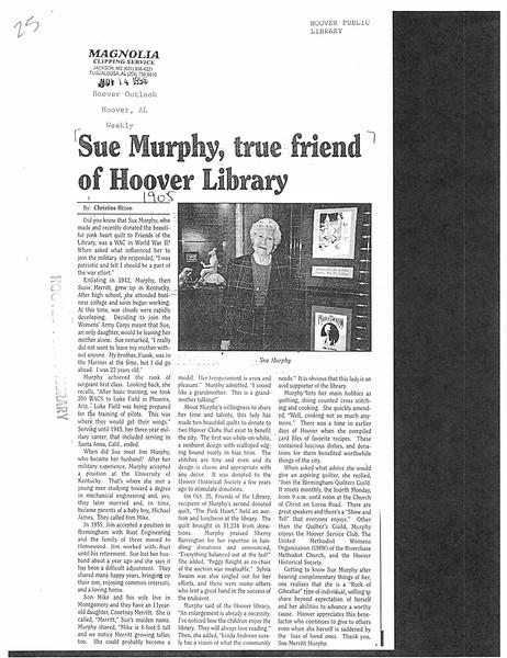 Sue Murphy, true friend of Hoover Library
