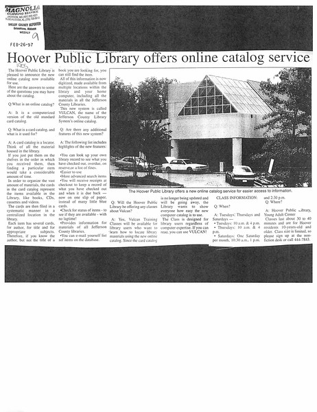 Hoover Public Library offers online catalog service