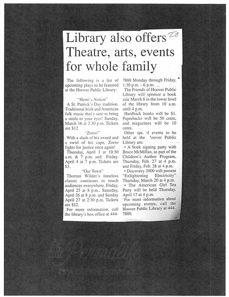 Library also offers Theatre, arts, events for whole family