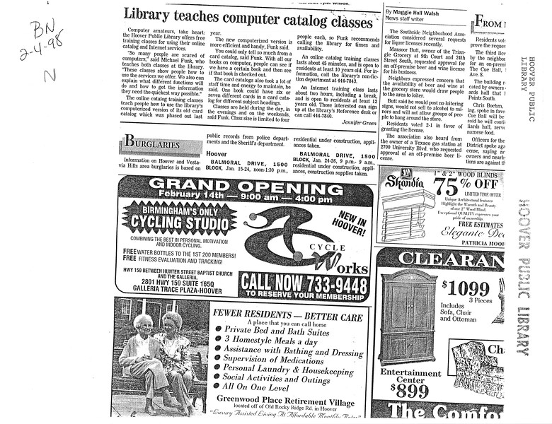 Library teaches computer catalog classes