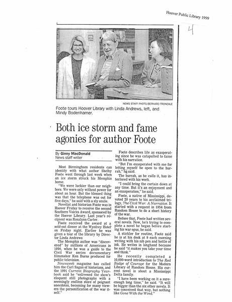 Both ice storm and fame agonies for author Foote