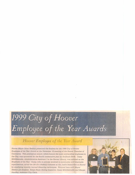 1999 City of Hoover Employee of the Year Awards