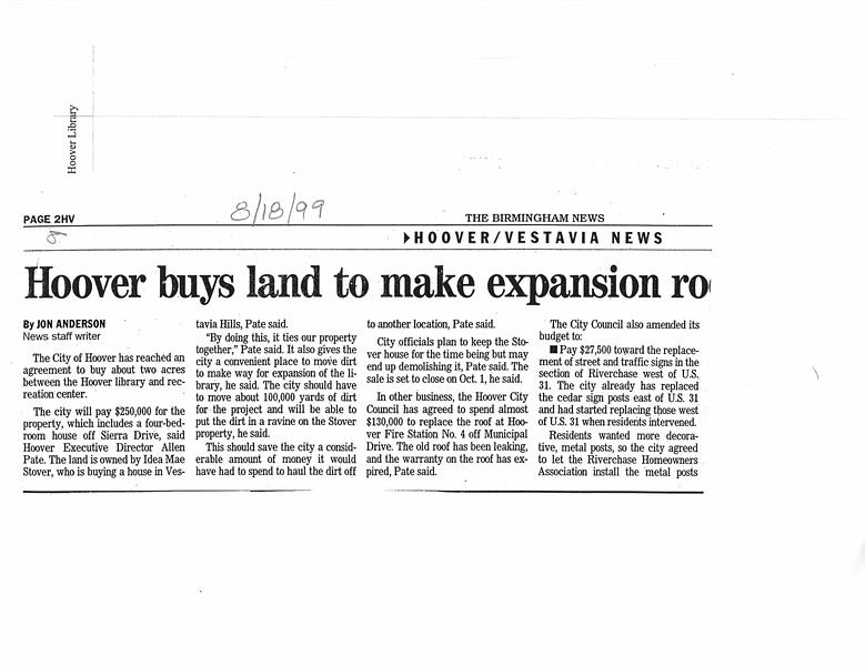 Hoover buys land to make expansion room