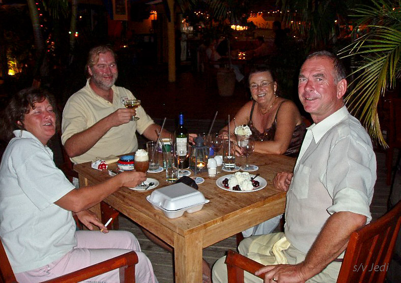 """Cruising Curacao: Spaanse Water<br /> Together with At & Dia (Angelique) we are enjoying a nice desert at """"Landhuis Brakkeput"""""""