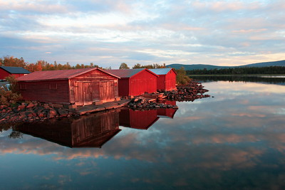 Red boathouses