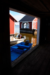 Red wooden boathouses