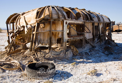 Half-buried trailer at the Salton Sea, CA