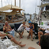 Nick's birthday<br /> Our every day happy hour on the dock at Shelter Bay marina. Everybody that passes by is invited to join. Daily attendants are John & Suzie (Caberet), Laura & Henrik (Wandering Star) and Josie & Nick (Jedi). Special apperance by Jose & Jeff (Stravaig)