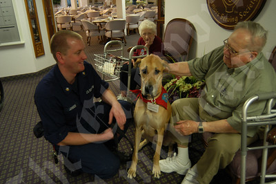 SOUTHWEST HARBOR, Maine- A resident of the Sunburry Village Retirement Community pets Sierra, a three-year-old Great Dane therapy dog, while her owner, Petty Officer 2nd Class Charles Johnson looks on. Johnson trained Sierra to be a therapy dog and together they have spent over 150 hours visiting patients at rehabilitation and retirement centers throughout Maine. (Coast Guard Photo/Seaman Sabrina Elgammal)